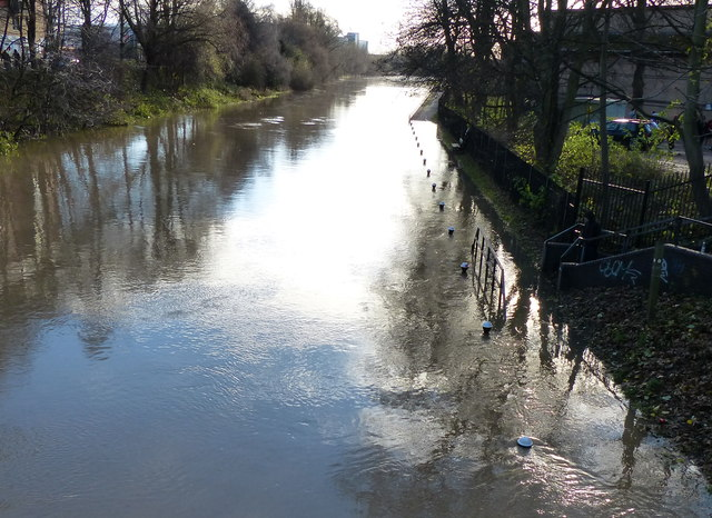 Flooded towpath of the Grand Union Canal