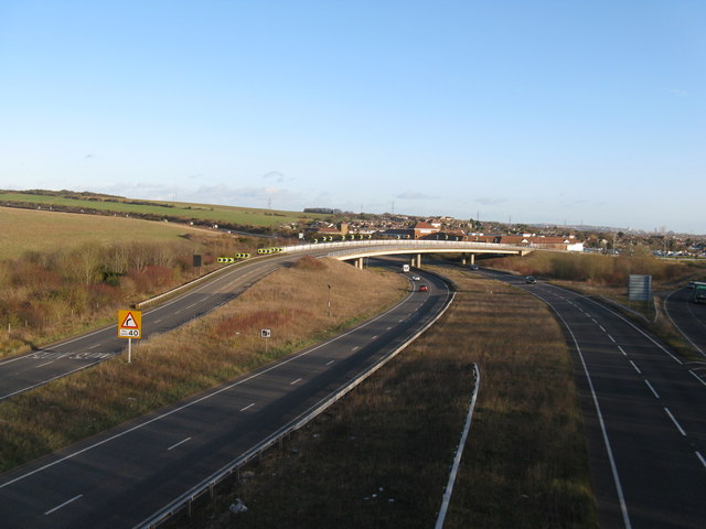 Looking east from the bridleway bridge over the A27