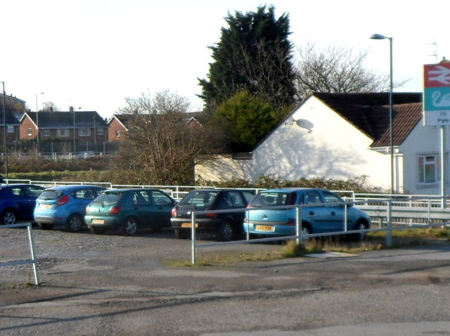 A corner of Pyle railway station car park