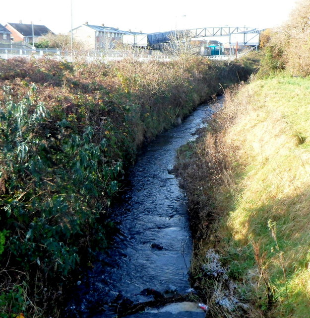 Afon Fach flows towards Pyle railway station