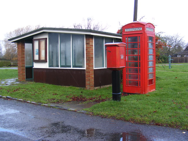 Bus Shelter, Telephone Box & Eltisley Postbox