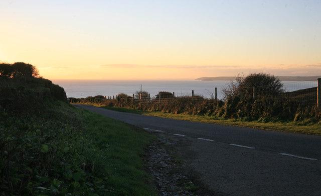 The Coast Road nr Tregantle at sunset
