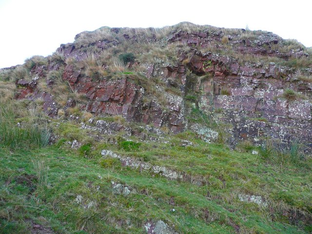 Old red sandstone in a quarry on Cefn Bryn