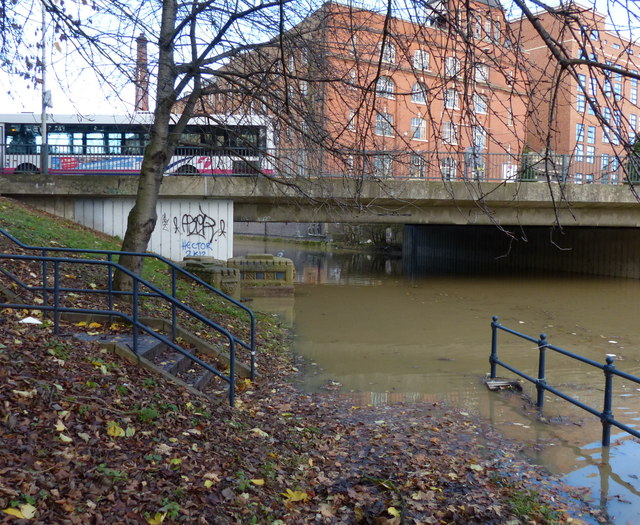 Flooded towpath at Abbey Park Road bridge