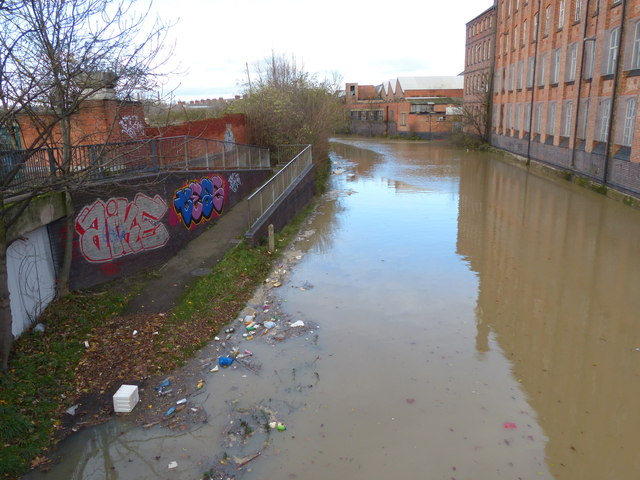 Flooding along the Grand Union Canal at Abbey Mills