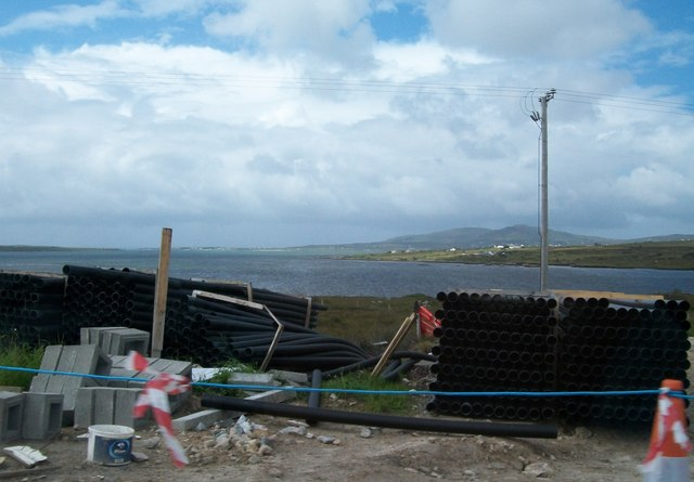 Road construction storage yard overlooking Trawenagh Bay