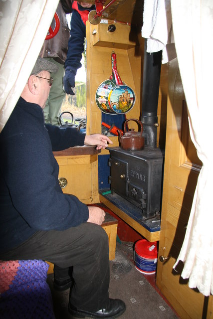 Inside the preserved narrowboat