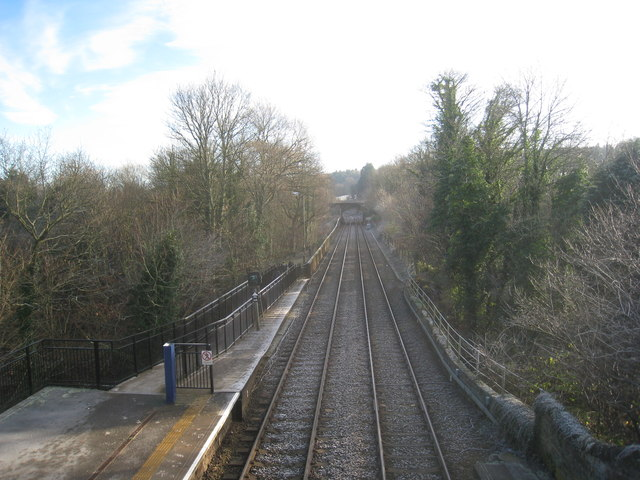View from the station footbridge, Riding Mill looking east