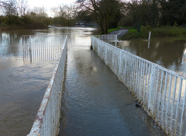 Flooded footbridge on the Grand Union Canal