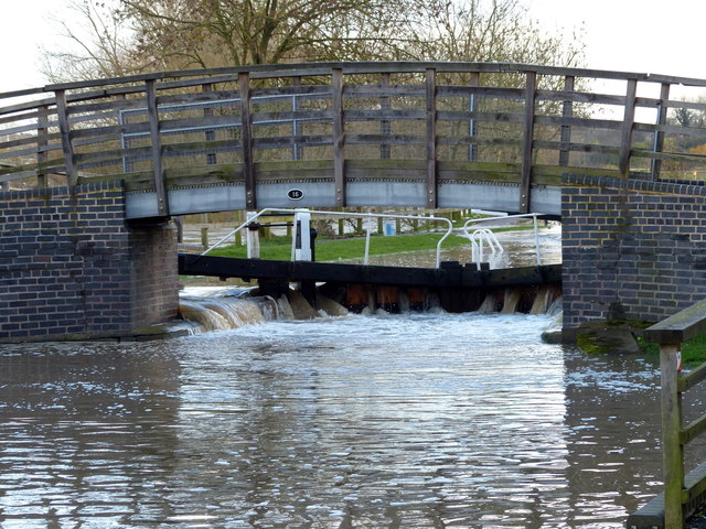 An overflowing Birstall Lock
