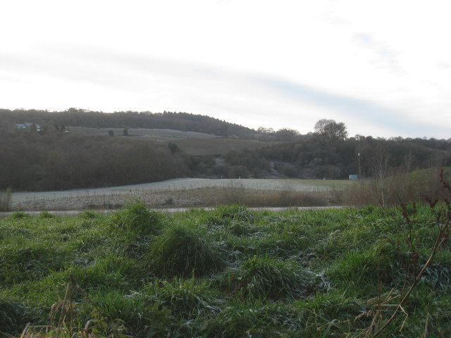 View across the former gravel pits at Farnley