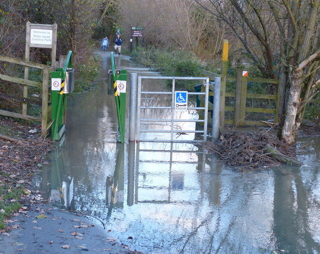Flooded path in the Watermead Country Park