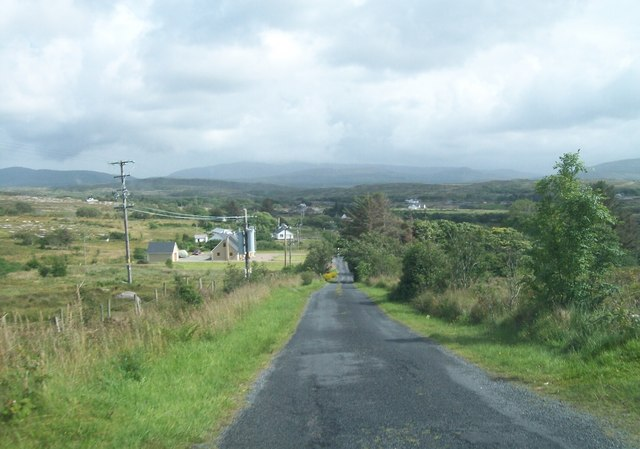 Descending in the direction of the junction with the N56 at Cloughwally