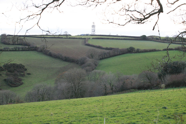 BT mast Bury Down across the fields