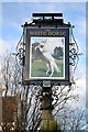 "SK3661 : ""The White Horse"" pub sign in Woolley Moor by Neil Theasby"
