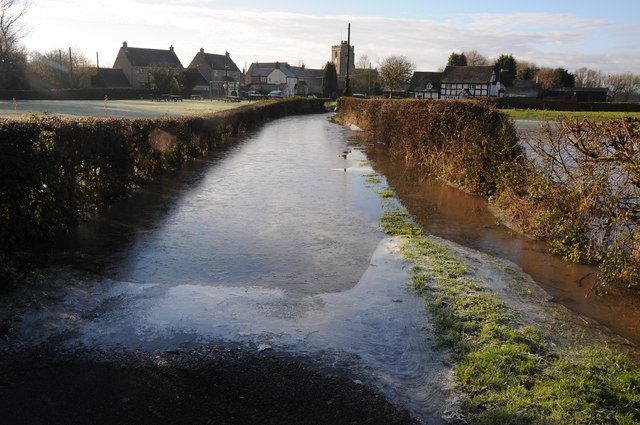 Frozen floodwater