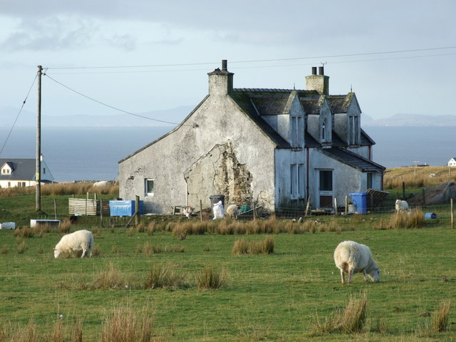 Dilapidated croft house at Kilvaxter