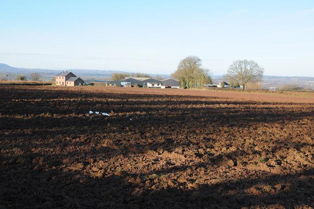 Ploughed field near Cross Llyde