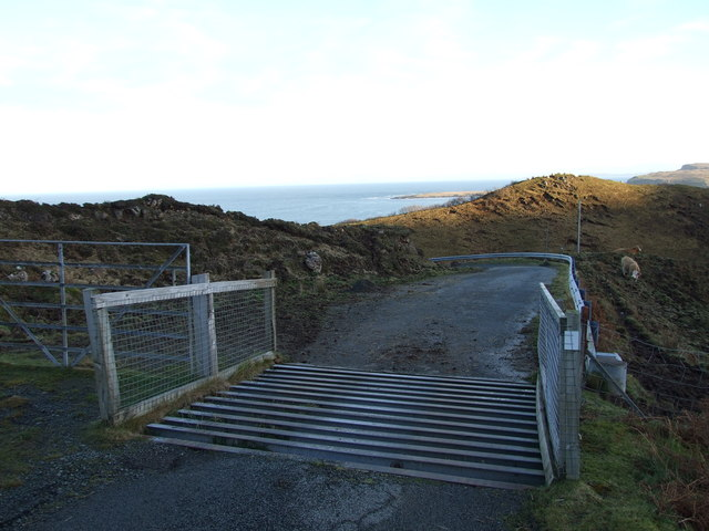 Cattle grid at the start of the Dunans road