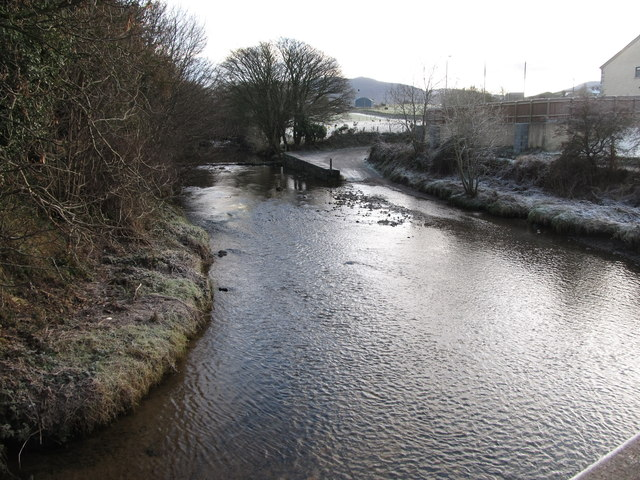 The River Bann ford from the northern end of the footbridge