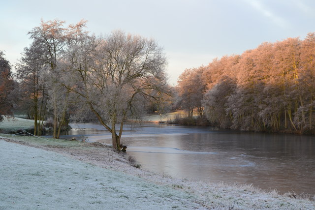 Frozen lake in morning sunlight, Stoke by Nayland Golf Club