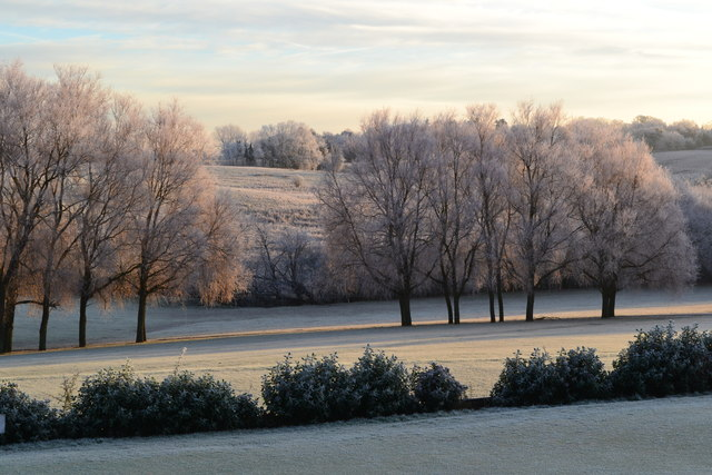 Sunlight on heavy frost, Stoke by Nayland