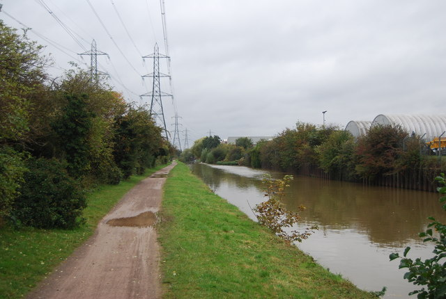 Pylons and National Cycle Route 1 along the Lea Navigation