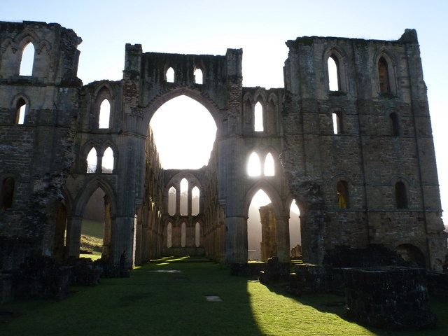 Rievaulx Abbey: looking down the nave into the sun