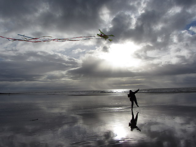 Kite-flying on Ogmore-by-Sea beach
