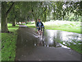 SP2965 : Bike, flooding and rain, St Nicholas Park: 2 by Robin Stott