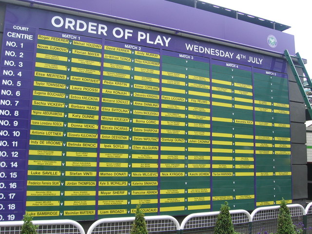 order of play board all england lawn virginia knight. Black Bedroom Furniture Sets. Home Design Ideas