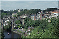 SE3457 : Knaresborough: church and viaduct from the castle by Christopher Hilton