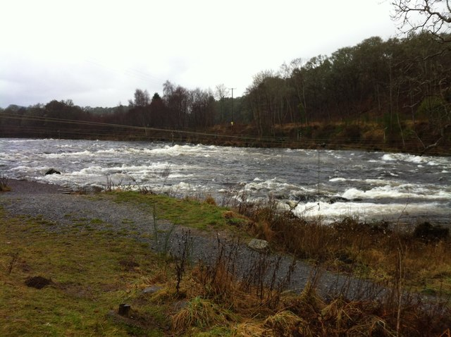 The River Tay in spate at Grandtully