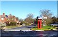 SU6984 : Sign Post & Phone Box, Highmoor Cross by Des Blenkinsopp