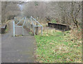 SS9187 : Cycle path at old railway bridge over the Afon Garw by Llangeinor by eswales