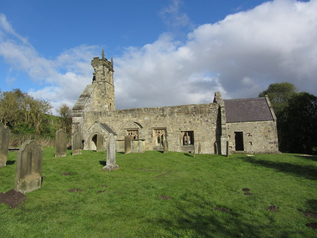 The ruined church at Wharram Percy Medieval Village