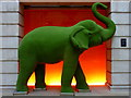 TQ3181 : Green elephant  at the Apex Temple Court Hotel, London by pam fray