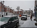 SO5174 : Part of Ludlow town centre in the snow, January 2013 by Jeremy Bolwell