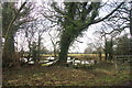 SJ8180 : Mere, footpath, stile and waymark, Saltersley Hall Farm by Peter Turner