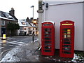 SY6890 : Dorchester: phone boxes at Top o' Town by Chris Downer