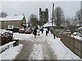 SE6183 : Helmsley Castle from Castlegate in snow by David Hawgood