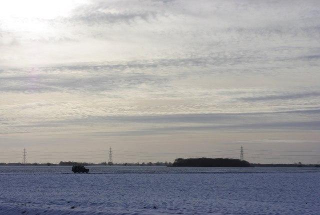 Across the snowy fields