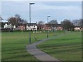 Dist:0.2km<br/>One of many pockets of green space within the city of Newcastle. This is part of a broad strip between Silver Lonnen (A191) and Slatyford Lane seen on the far side. Children's play equipment in evidence.