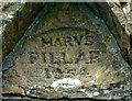 NY5317 : Date inscription, Mary's Pillar by Karl and Ali