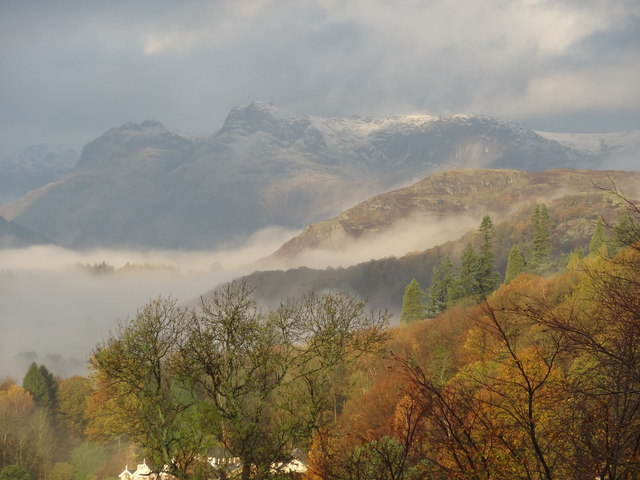 Langdale Pikes from the Holbeck Ghyll Hotel, Windermere