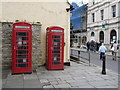 SZ0378 : Swanage: phone boxes outside the library by Chris Downer
