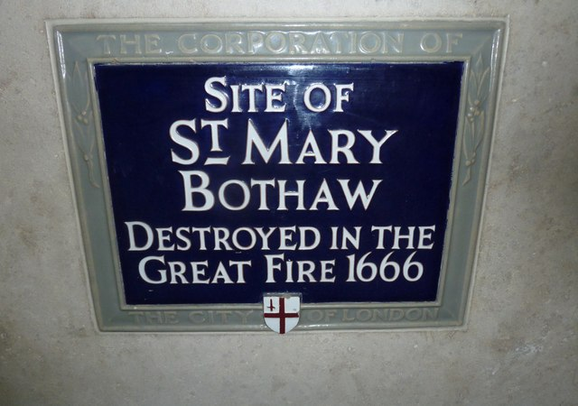 St. Mary Bothaw, London blue plaque - Site of St. Mary Bothaw destroyed in the Great Fire 1666