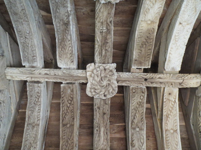 Carved roof  timbers - St John's Church
