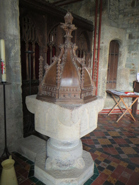 Font and carved wood font cover - St John's Church