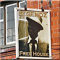 SJ9698 : Sign for Legendz Free House by Gerald England